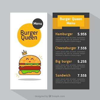 Bom menu de hambúrguer