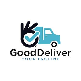 Bom modelo de design de logotipo de entrega