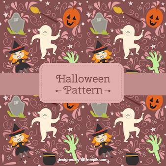 Bom padrão de abóbora com bruxas e fantasmas