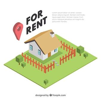 Bom plano de fundo com um conceito de casa para aluguel