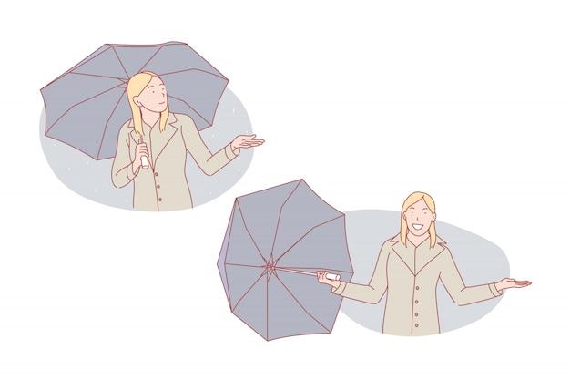 Bom tempo ou mau tempo, ilustração de conjunto de guarda-chuva