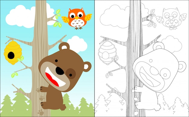 Bom urso cartoon escalada árvore para doce mel