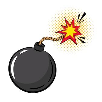Bomba de desenho animado em estilo pop art