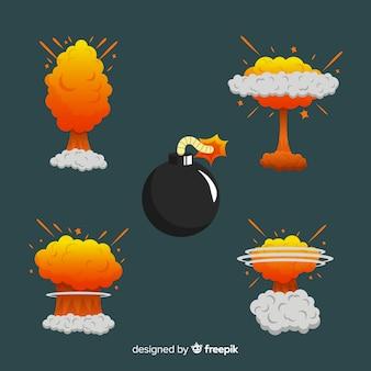 Bomba de desenhos animados e coleção de efeito de explosão de bomba