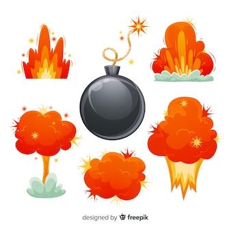 Bomba de desenhos animados e coleção de efeito de explosão
