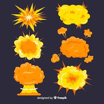 Bomba de desenhos animados e conjunto de efeitos de explosão de bomba