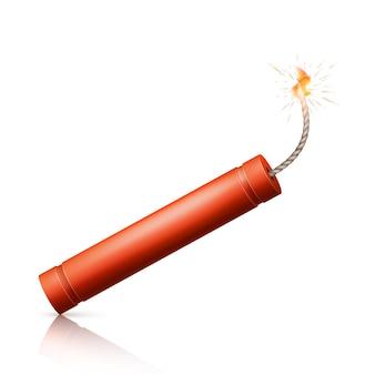 Bomba de dinamite com pavio em chamas. arma vermelha detonar militar. ilustração