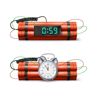 Bomba de dinamite com relógio de contagem regressiva e cronômetro digital