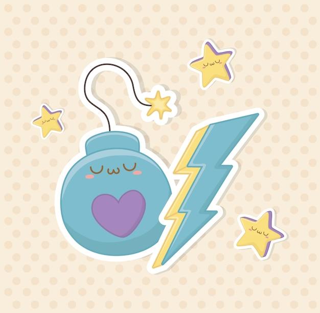 Bomba de fantasia engraçada e raio trovão personagem kawaii