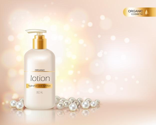 Bomba de garrafa superior com loção cosmética orgânica e tampa de ouro decorada com dispersão de pérolas e gl