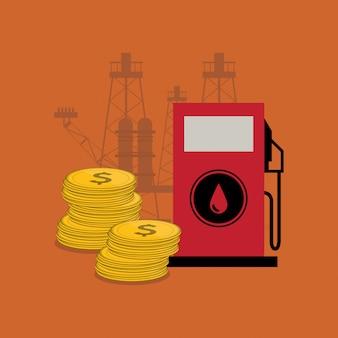 Bomba de gasolina com imagem de ícones relacionados de óleo de petróleo