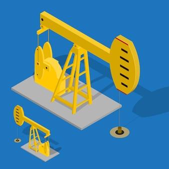 Bomba de óleo de energia industrial sobre um fundo azul. equipamentos para a indústria. vista isométrica.