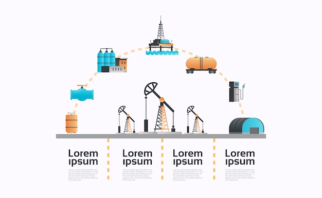 Bomba de óleo ícone infográficos modelo extração produção