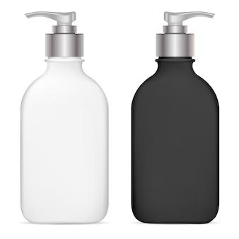 Bomba dispensadora garrafa cosmética plástica. isolado