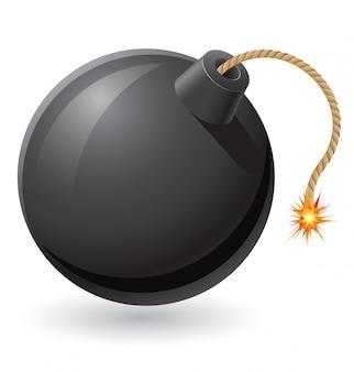 Bomba negra com um fusível em chamas