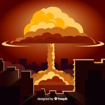 Bomba nuclear plana em uma cidade