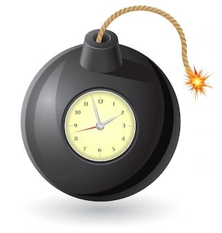 Bomba preta com um fusível e um relógio em chamas