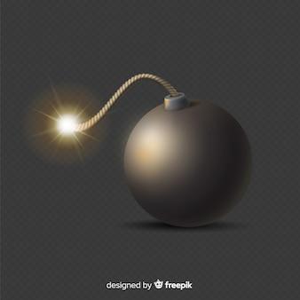 Bomba preta realista redonda sobre fundo preto