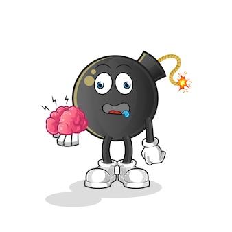 Bombardeie sem cérebro. personagem de desenho animado