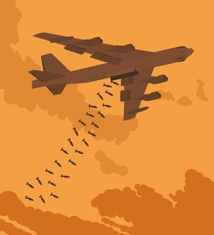 Bombardeiro pesado largou as bombas contra o pôr do sol. ilustração adequada para publicidade e promoção