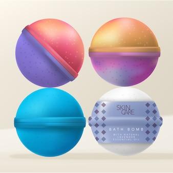 Bombas de banho ou fizzers de banho com embalagem de envoltório retrátil impresso com padrão diamante.