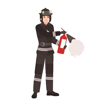 Bombeiro, bombeiro ou salvador vestindo uniforme de proteção à prova de fogo, capacete e segurando um extintor. personagem de desenho animado masculino isolada no fundo branco. ilustração em vetor plana colorida.