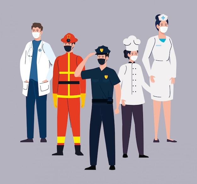 Bombeiro com grupo de trabalhadores, trabalhadores usando máscara médica contra coronavírus