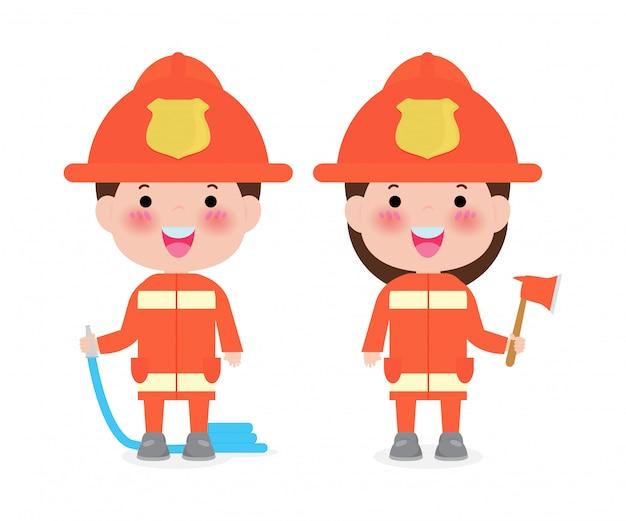 Bombeiro de profissão com ilustração de equipamento de segurança contra incêndio isolado no branco