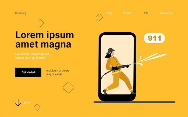 Bombeiro na tela do smartphone segurando a página inicial da mangueira de incêndio em estilo simples