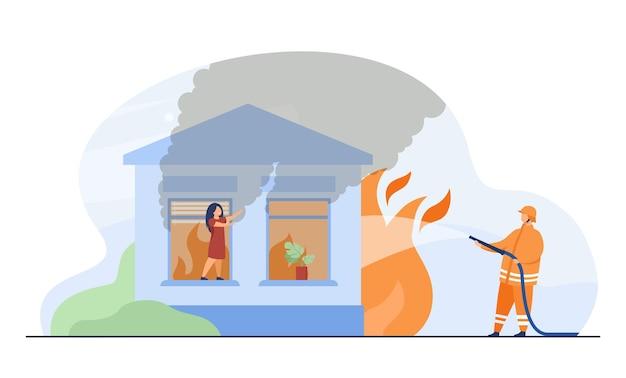 Bombeiro profissional extinguindo incêndio em casa