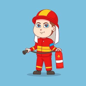 Bombeiros carregando extintores de incêndio
