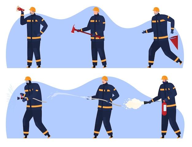 Bombeiros com vários extintores de incêndio, alto-falante, machado, hidrante