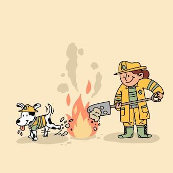 Bombeiros de design plano apagando um incêndio