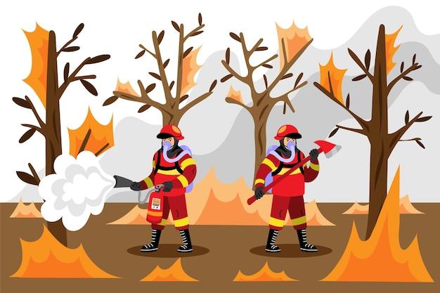 Bombeiros desenhados à mão apagando o fogo juntos