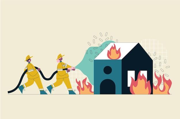 Bombeiros desenhados à mão apagando um incêndio