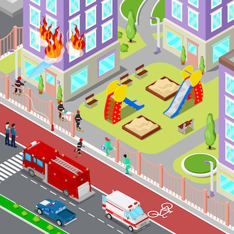 Bombeiros extinguir um incêndio na cidade isométrica de casa. bombeiro ajuda mulher ferida. ilustração 3d plana