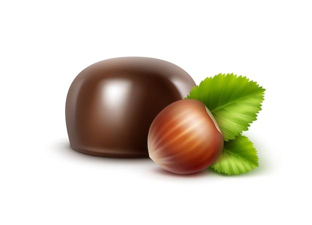 Bombons de chocolate amargo e preto escuro com avelãs