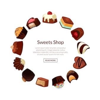 Bombons de chocolate dos desenhos animados em forma de círculo