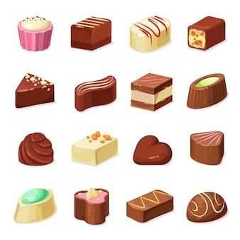 Bombons e doces de chocolate, comida para sobremesas