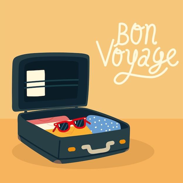 Bon voyage viagem mala aberta