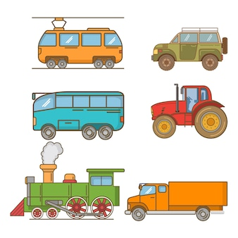 Bonde elétrico, trator agrícola, ônibus de turismo de passageiros, caminhão de entrega, estrada de ferro locomotiva a vapor, viagens de carro de caminhão fora de estrada.