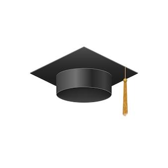 Boné 3d de universidade de graduação realista preto.
