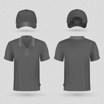 Boné de beisebol preto e polo masculino camiseta realista vector