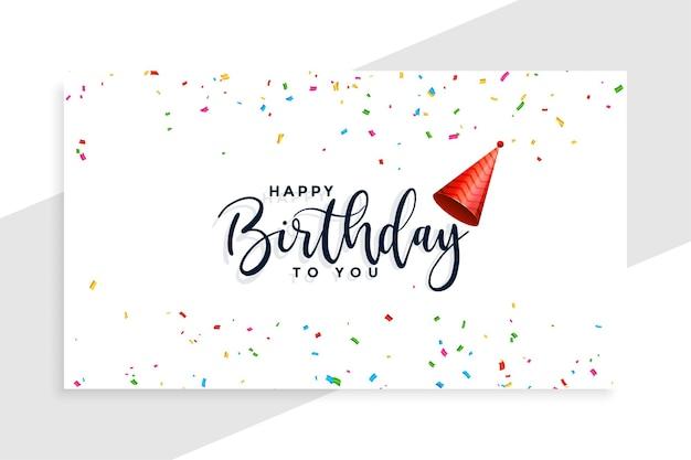 Boné de feliz aniversário com cartão de confete