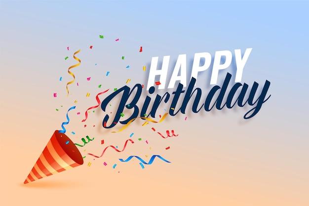 Boné de feliz aniversário com explosão de confete