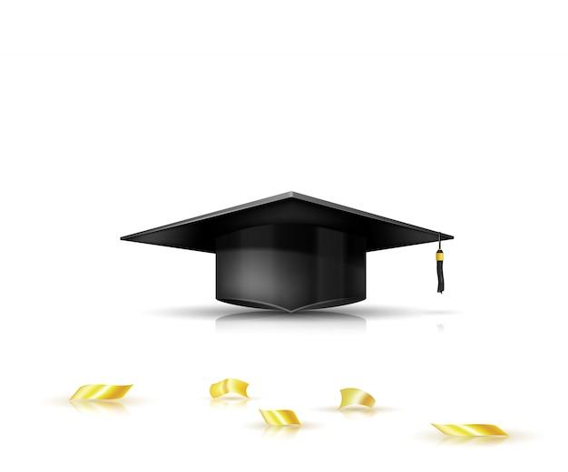 Boné de formatura e confete dourado. ilustração vetorial