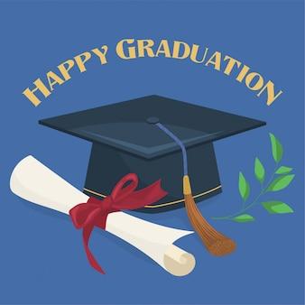 Boné de formatura e diploma
