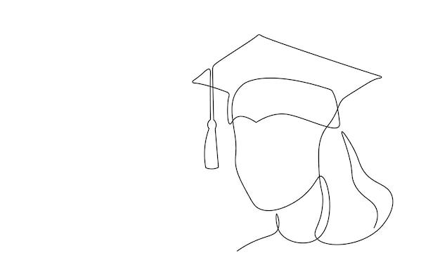 Boné de graduação de arte em linha contínua única. cerimônia de celebração de pós-graduação de academia de mestrado projeto um esboço esboço desenho ilustração vetorial arte.