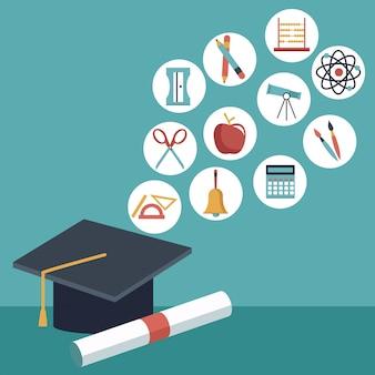 Boné de graduação e certificado com elementos acadêmicos