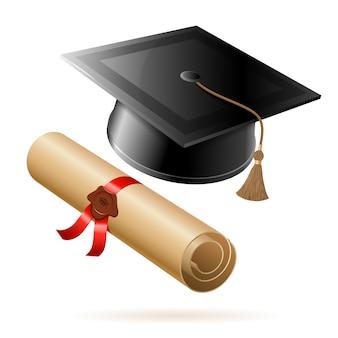 Boné de graduação e diploma